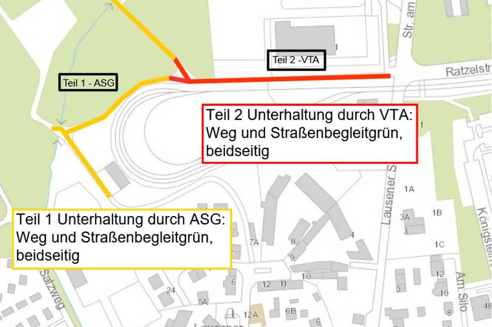 Skizze der zu bauenden Wegabschnitte zum Kulkwitzer See. Grafik: Stadt Leipzig