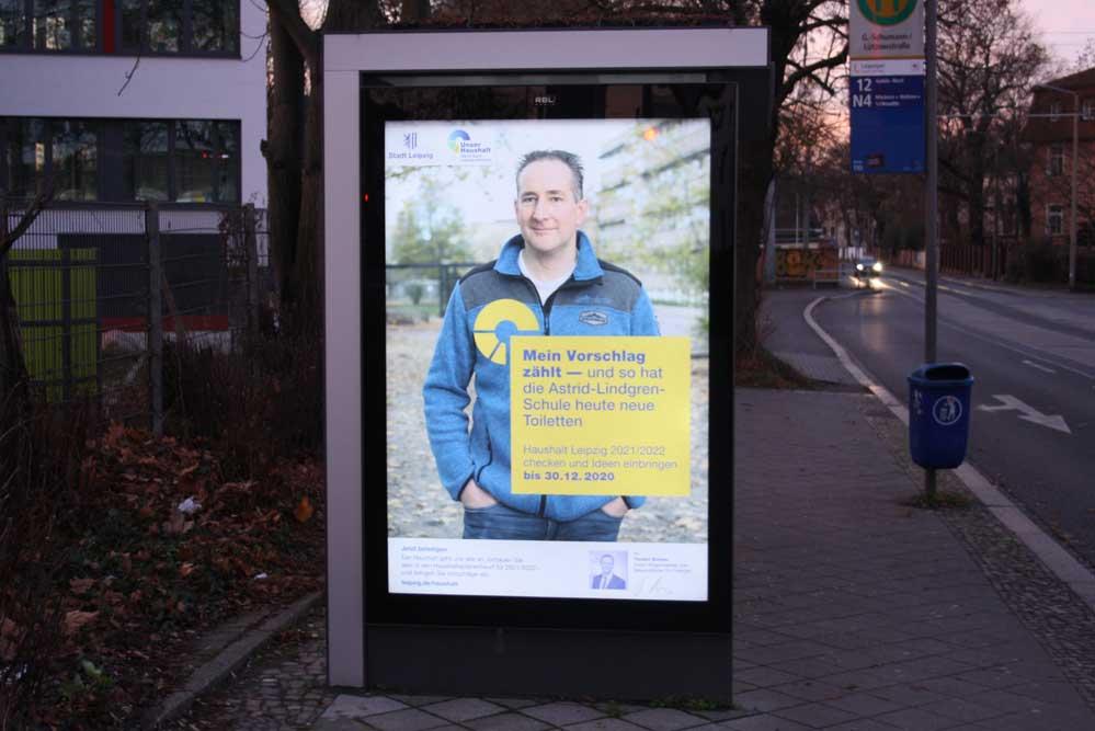 Werbeplakat für die Bürgerbeteiligung am Doppelhaushalt 2021 / 2022. Foto: Ralf Julke