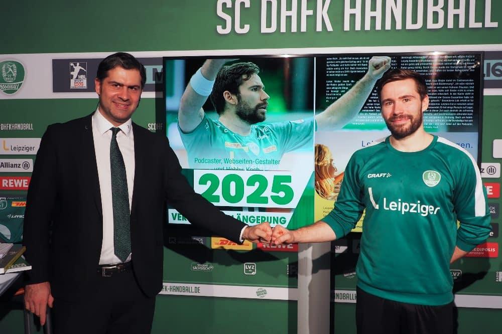 Lukas Binder und Geschäftsführer Karsten Günther. Quelle: SC DHfK
