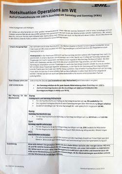 Notsituation Personal am Flighafen: Das Operations-Handout der DHL vom 10. Februar 2021. Foto: Privat