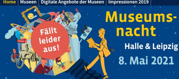 Absage der Museumsnach, Webseite der Veranstaltung. Bild: museumsnacht-halle-leipzig.de