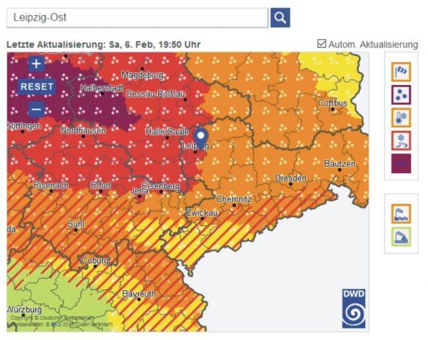 Von links oben kommt das Unheil nach Leipzig. DWD-Karte vom 6. Februar 2021, 19:50 Uhr. Screen dwd.de