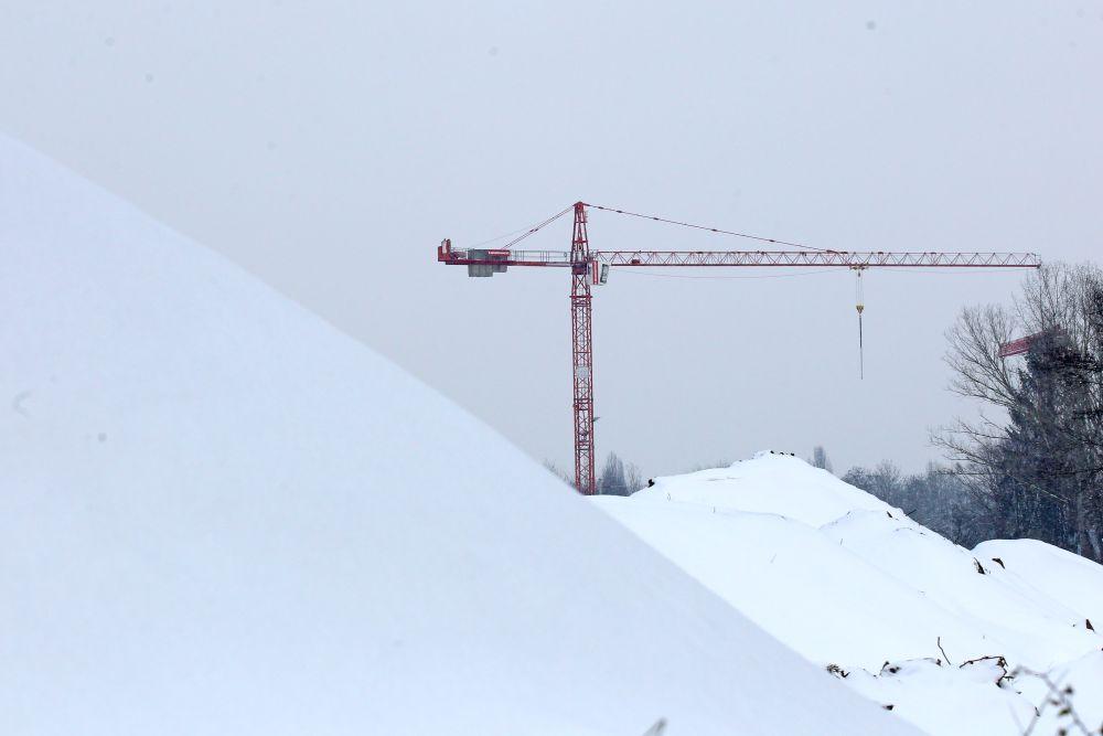 Leipziger Baustelle im Winter 2021. Foto: LZ