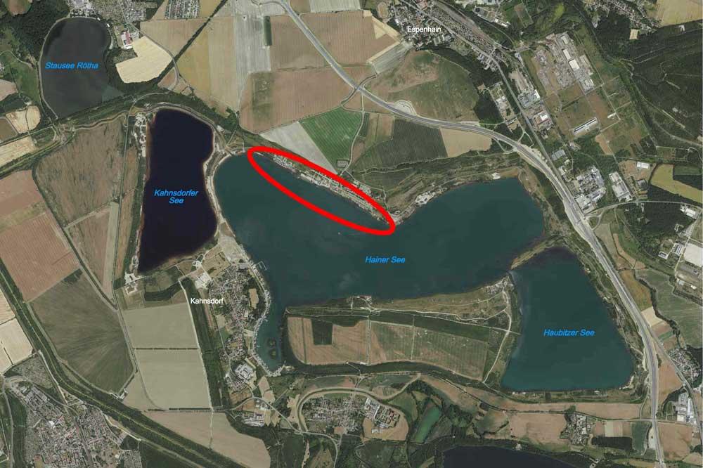 LMBV-Übersichtskarte vom zu sanierenden Uferbereich am Hainer See. Foto: LMBV
