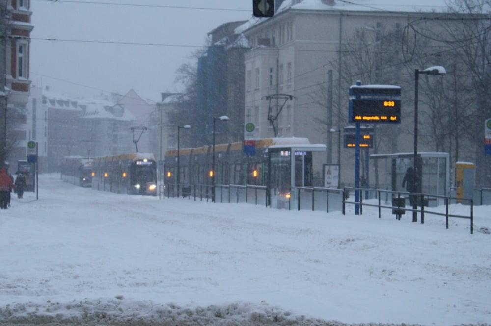Leipzig am 8. Februar: Ende im Schnee. Foto: Ralf Julke