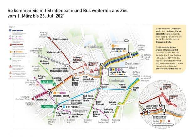 Geplante Umleitungen vom 1. März bis 23. Juli 2021. Grafik: Leipziger Gruppe