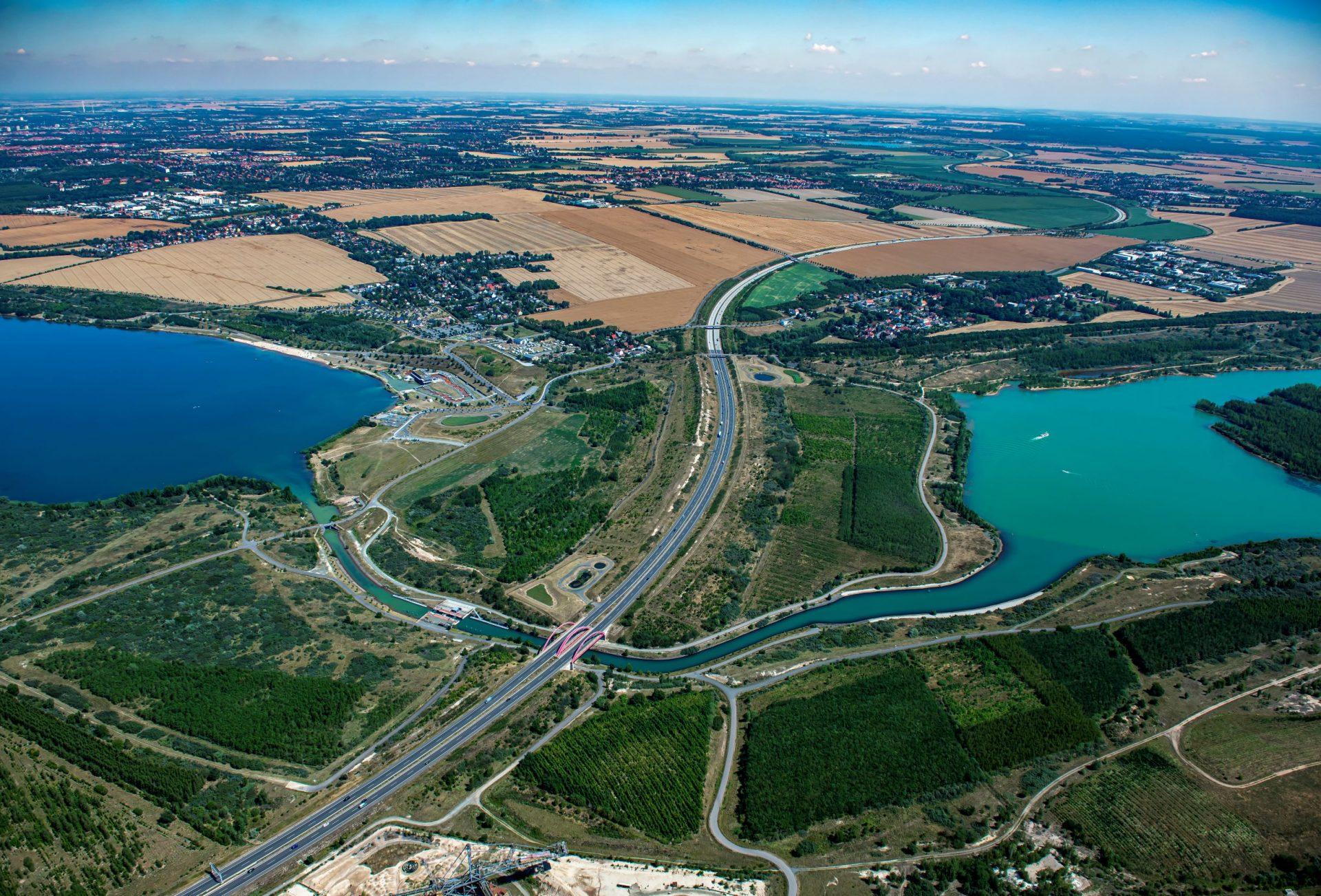 Störmthaler Kanal mit angrenzenden Seen 2019 (Quelle: LMBV)