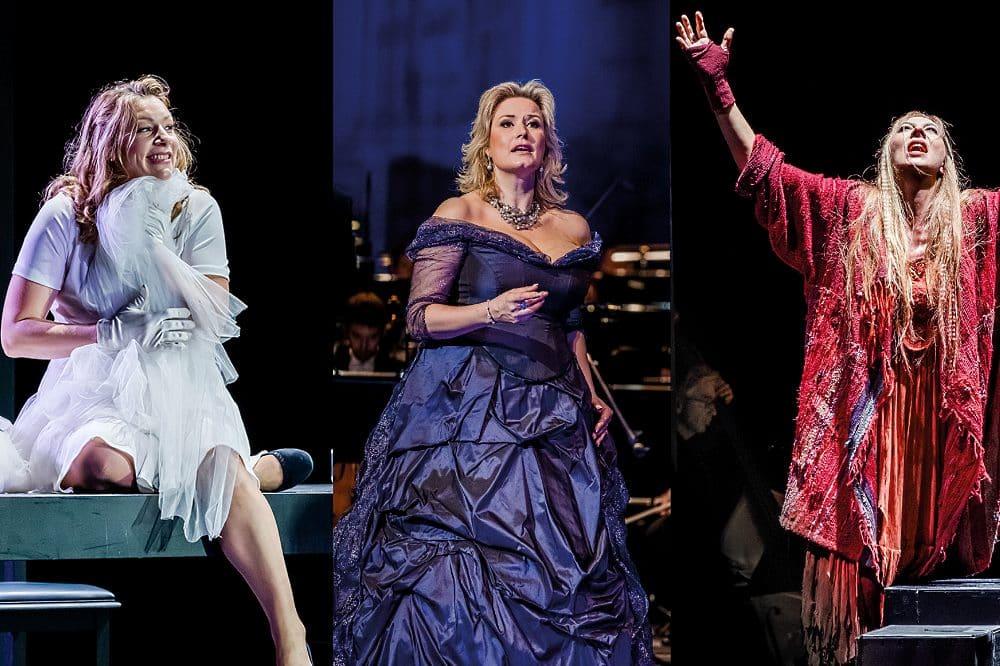 "vlnr: Jennifer Holloway als Elsa in ""Lohengrin"", Camilla Nylund als die Gräfin in ""Capriccio"", Marina Prudenskaya als Azucena in ""Il trovatore"". © Oper Leipzig"