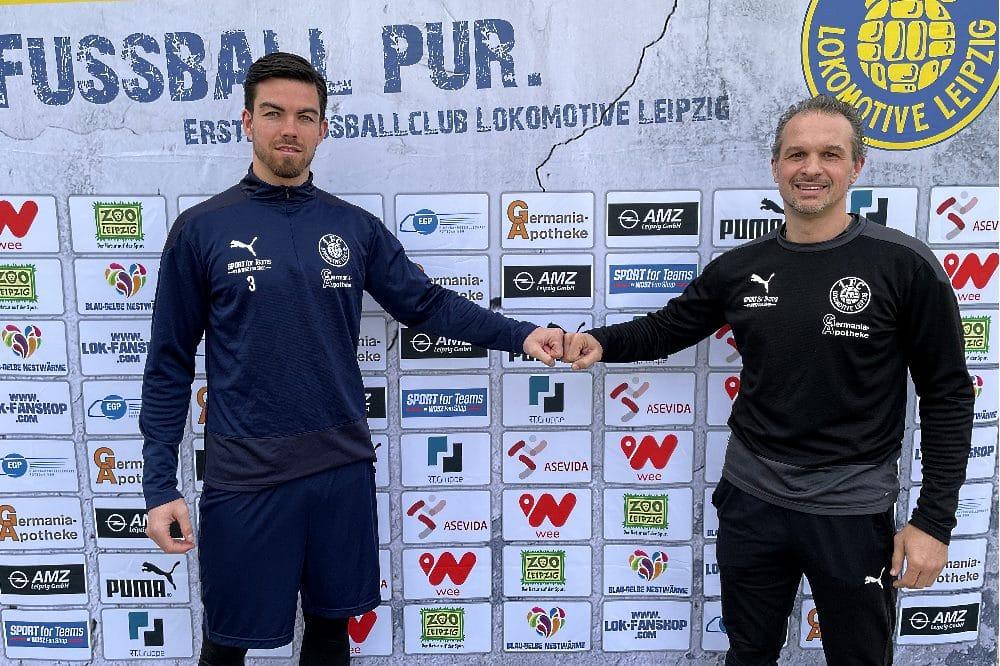 Mike Eglseder und Cheftrainer Almedin Civa. Quelle: 1. FC Lokomotive Leipzig