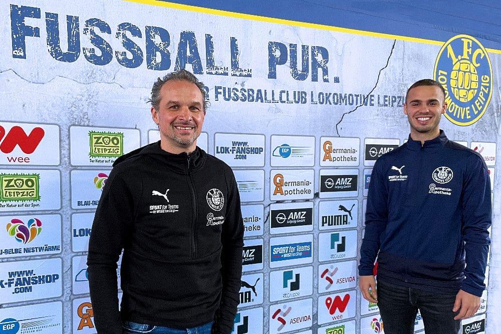 Sportdirektor und Trainer Almedin Civa und Farid Abderrahmane. Foto: 1. FC Lokomotive Leipzig