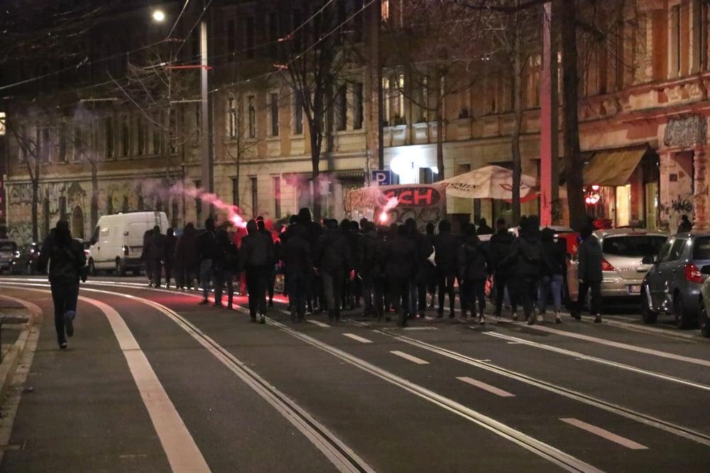 Feminismus-Demo auf der Bornaischen Straße. Foto: LZ