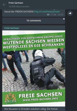 """Wenn """"Freie Sachsen"""" Gewalt gegen Polizeibeamte rechtfertigt. Screen: Telegram-Kanal """"Freie Sachsen"""""""