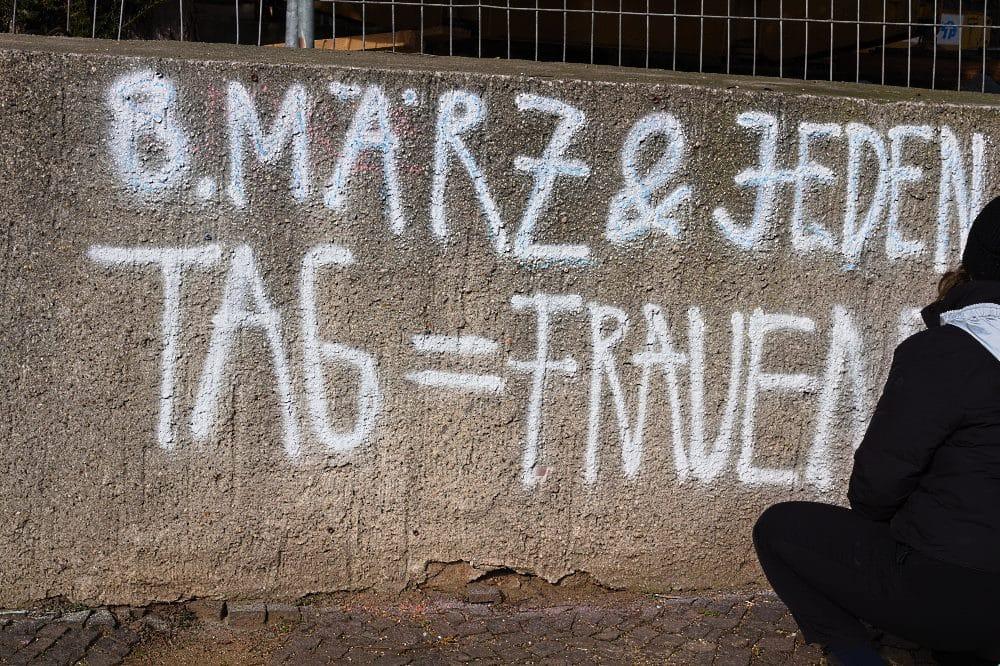 Kreideaktion am 8.März in Wurzen. Quelle: Netzwerk für Demokratische Kultur e.V.