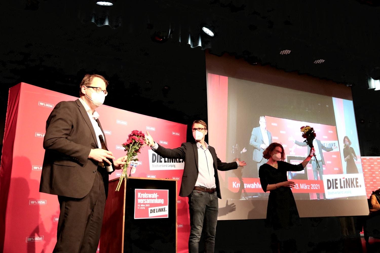 Nach den Ergebnissen bei der Kandidatennominierung der Leipziger Linken am 13. März 2021. Foto: LZ