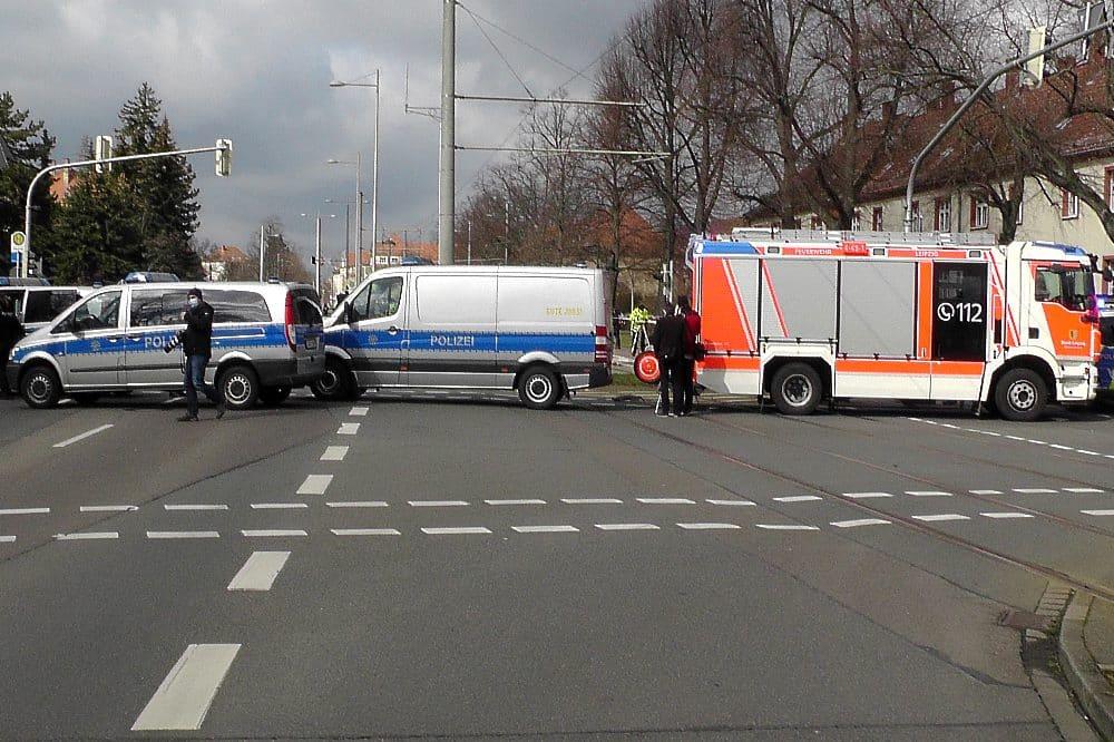 Die Unfallstelle an der Prager Straße am 16. März 2021. Foto: LZ, Sabine Eicker