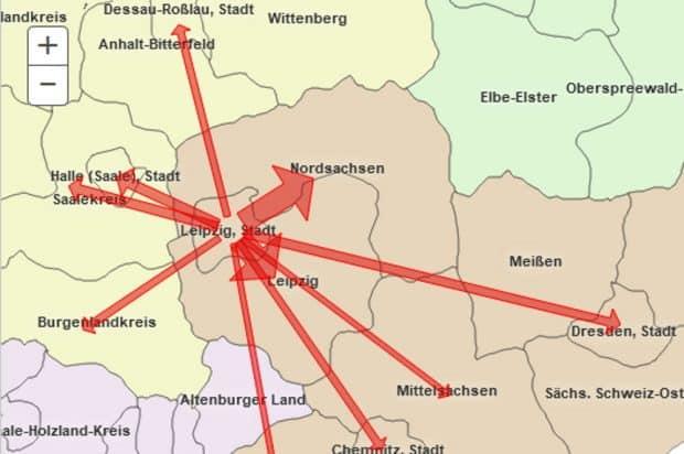 Auspendler aus Leipzig, Stand Juni 2020. Grafik: Bundeagentur für Arbeit, Pendleratlas