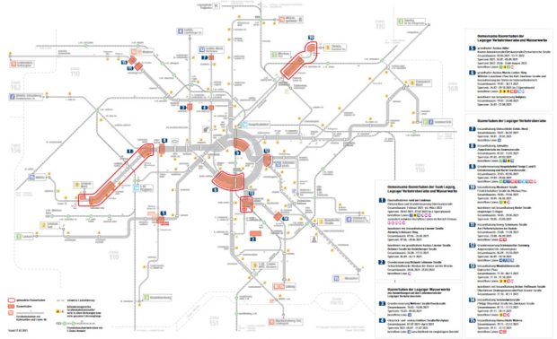 Die LVB-Baustellen 2021. Grafik: LVB