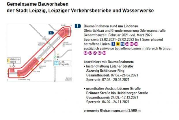 Die Gleiserneuerungen auf der Lützner Straße. Grafik: LVB