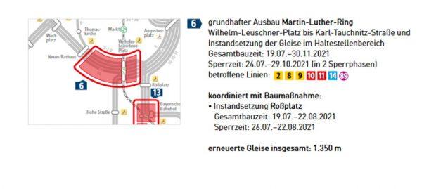 Die geplante Baustelle am Martin-Luther-Ring. Grafik: LVB