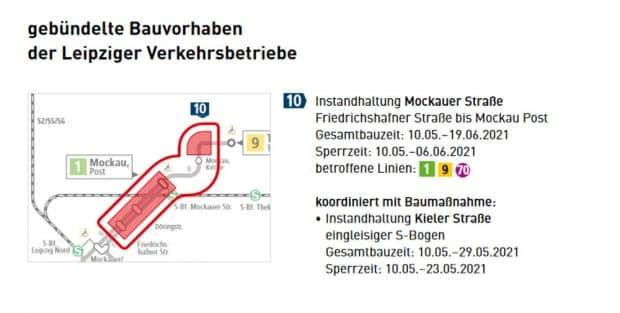 Die geplanten Gleisarbeiten in der Mockaer Straße. Grafik: LVB