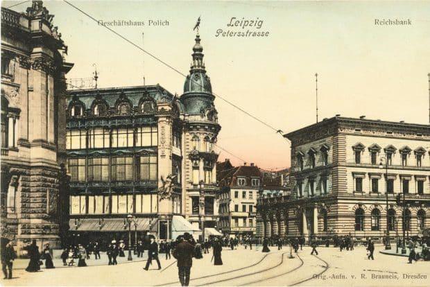 Geschäftshaus Polich auf einer Postkarte, Aufnahme R. Brauneis. Copyright: Pro Leipzig