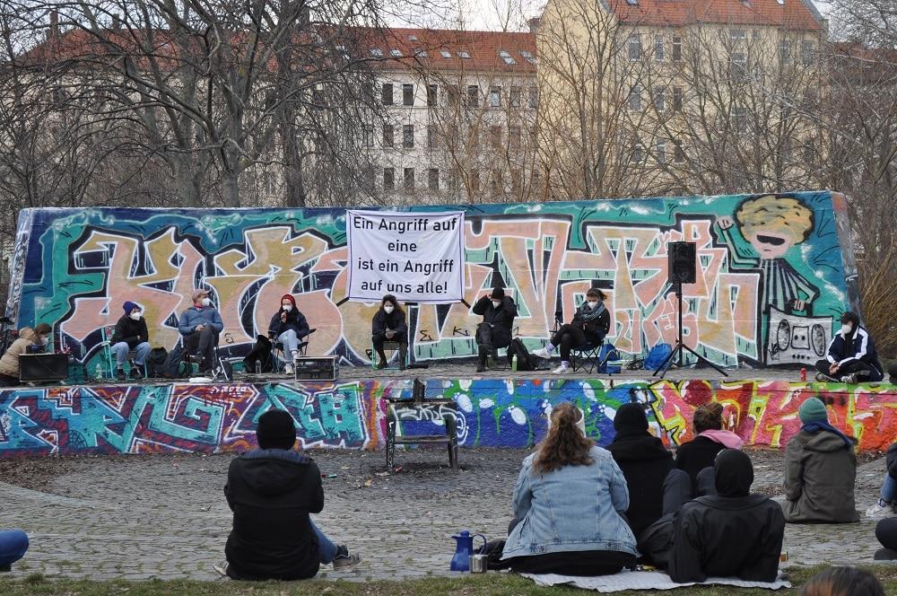 feministische Kundgebung im Leipziger Rabet im Rahmen einer Aktionswoche rund um den 8. März (Frauenkamptag / Internationaler Frauentag) Foto: Antonia Weber