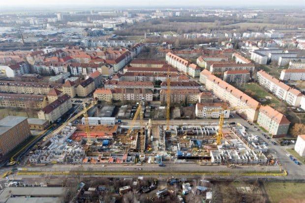 300 Wohnungen entstehen in der Saalfelder Straße. Foto: Peter Usbeck / LWB