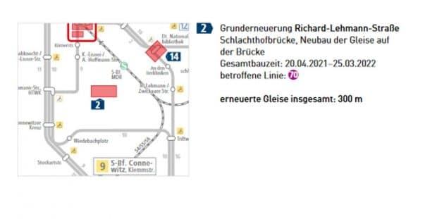 Die Gleiserneuerung auf der Schlachthofbrücke in der RIchard-Lehmann-Straße. Grafik: LVB