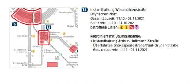 Die Reparaturmaßnahmen in der Windmühlenstraße. Grafik: LVB