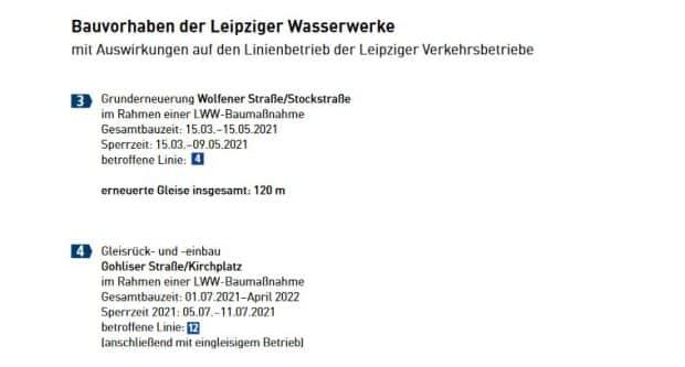 Die gemeinsamen Maßnahmen mit den Wasserwerken in der Wolfener Straße und in der Gohliser Straße / Kirchplatz. Grafik: LVB