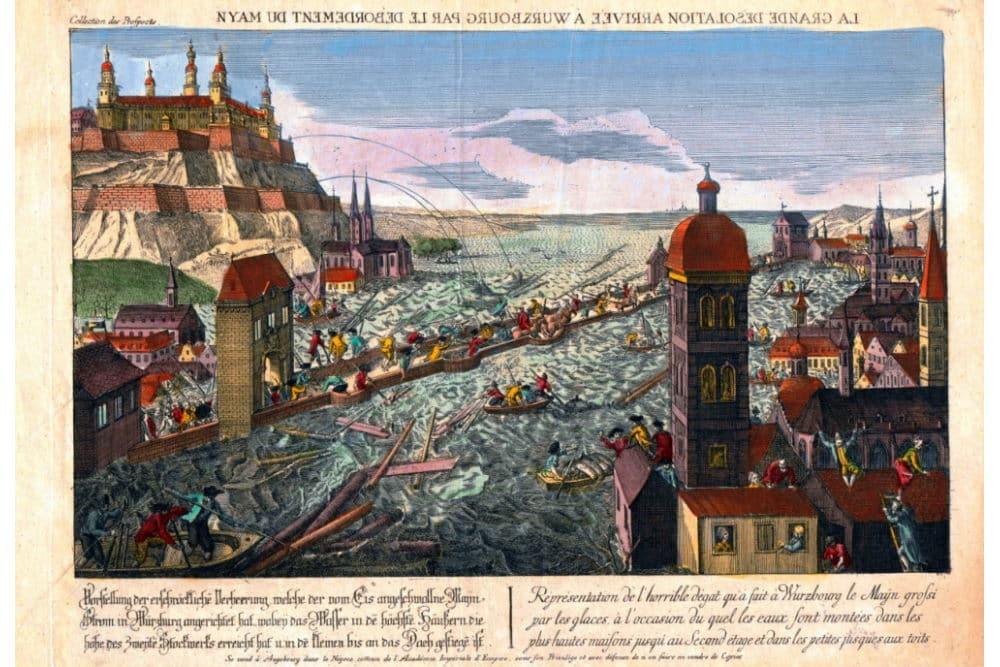 Guckkastenbild: Mainhochwasser in Würzburg. Foto: GWZO