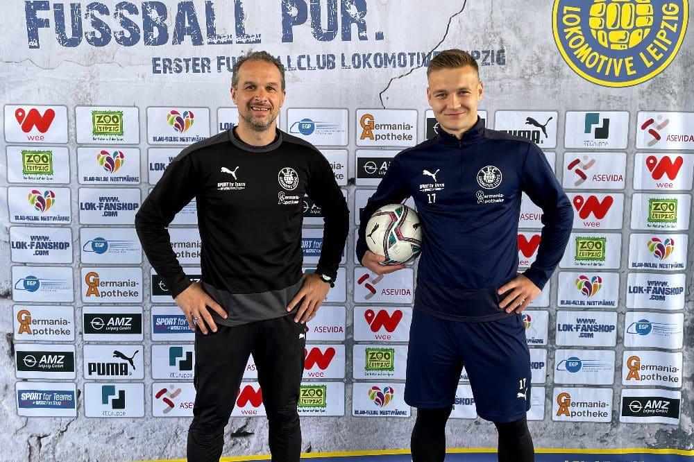 Sportdirektor und Cheftrainer Almedin Civa und Edvardas Lucenka. Quelle: 1. FC Lokomotive Leipzig
