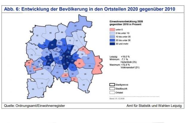 Bevölkerungsentwicklung in den Ortsteilen von 2010 bis 2020. Grafik: Stadt Leipzig / Quartalsbericht 4/2020