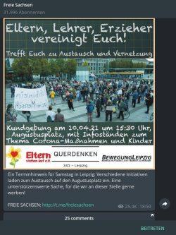 """Aufruf von """"Querdenken 341"""" bei """"Freie Sachsen"""" Telegram. SCreen: Telegram Freie Sachsen"""