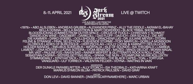 Das diesjährige Programm des Darkstream-Festival II, gestreamt aus der Moritzbastei. Bild: LineUp DS