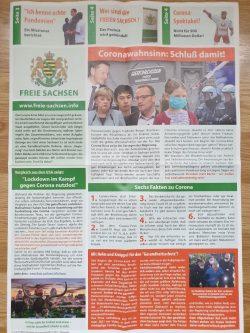 """Die Zeitung der maßßgeblich aus dem Erzgebirge kommenden """"Freien Sachsen"""" werden auch in Leipzig verteilt. Foto: LZ"""