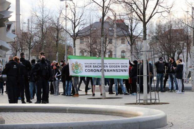 Protest gegen die Corona-Maßnahmen am 12.04.21. Foto LZ