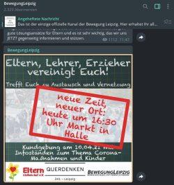 """""""Bewegung Leipzig"""" will nun 16:30 Uhr in Halle/S. eine Kundgebung abhalten. In Sachsen-Anhalt wird man sich freuen. Foto: Screen Telegram Bewegung Leipzig"""