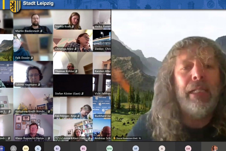 Der Stadtrat digital am 21.04.2021. Foto: Screen Livestream