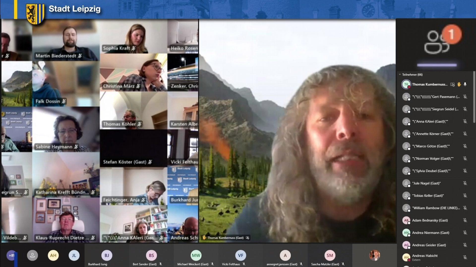 Thomas Kumbernuß in der digitalen Stadtratsdebatte. Foto: Screen Livestream