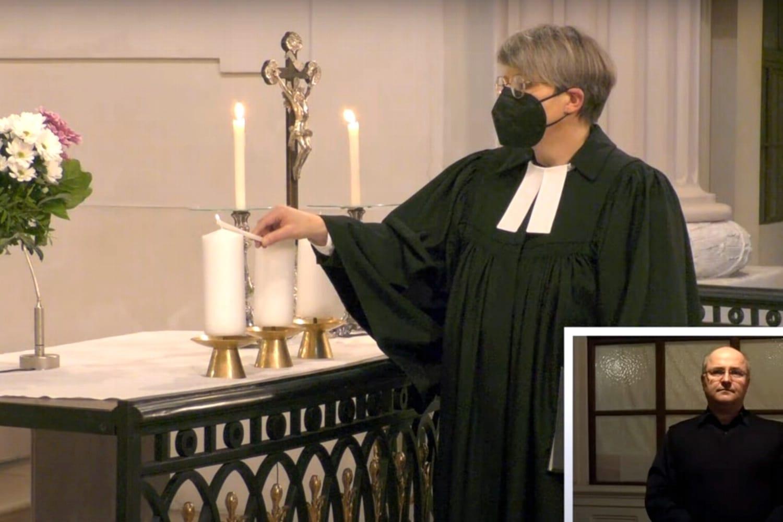 Screenshot vom Livestream zum Gedenken an die Corona-Verstorbenen am 18. April 2021 in der Nikolaikirche.