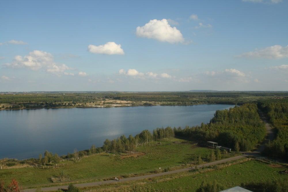 Blick von der Bistumshöhe auf das Waldgebiet südlich von Markkleeberg. Foto: Ralf Julke