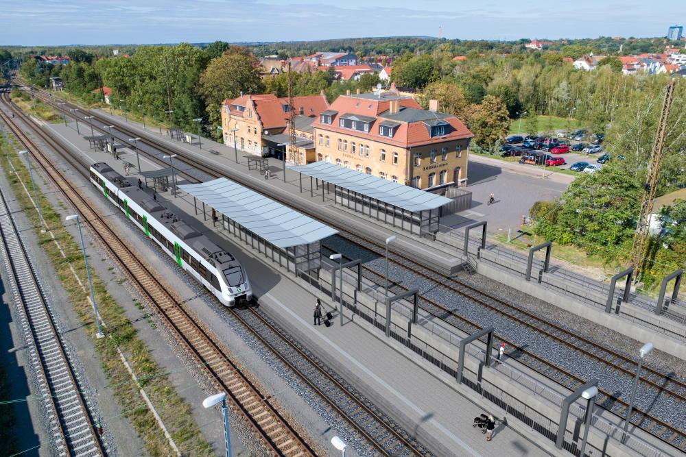 Visualisierung Bahnhof Borna. Drohnenfoto: DB/Vectorvision