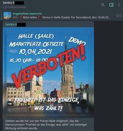 Screenshot vom Telegramkanal der Anmelderin der Hallenser Kundgebnug, an welcher nunmehr die Leipziger ab 16:30 Uhr teilnehmen wollten.