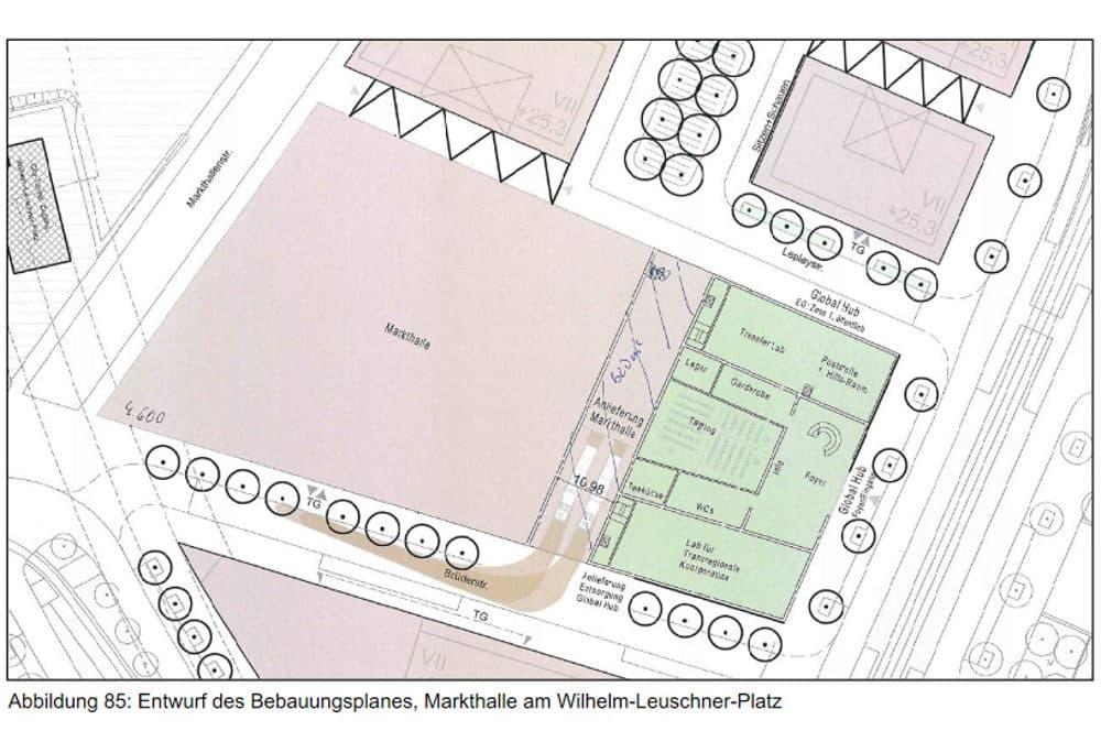 Skizze der Markthallenfläche im Bebauungsplan. Grafik: Stadt Leipzig