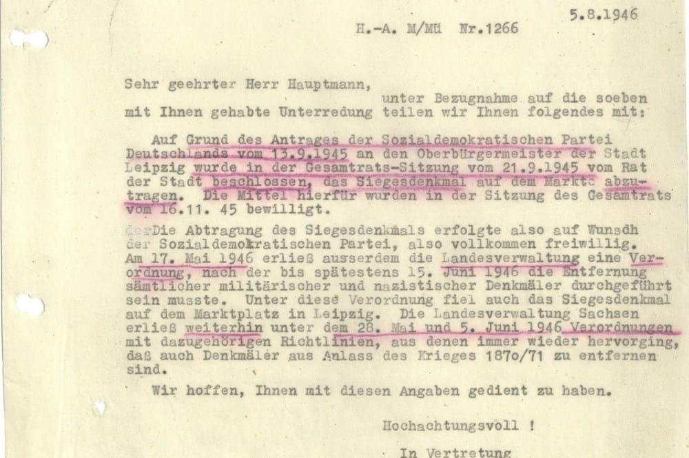 Schreiben des Leipziger Baudezernats an die sowjetische Zentralkommandantur. Foto: Stadt Leipzig