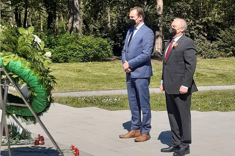 Kranzniederlegung auf dem Ostfriedhof am 8.Mai 2021. Quelle: Stadt Leipzig