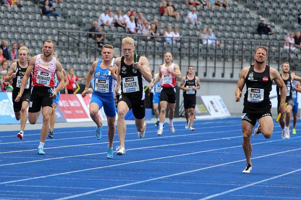Archivfoto DM 2019: SC DHfK-Läufer Marvin Schulte - hier im Vereinstrikot - Mitte - holte mit der deutschen 4x100m-Staffel das Olympiaticket. Foto: SC DHfK