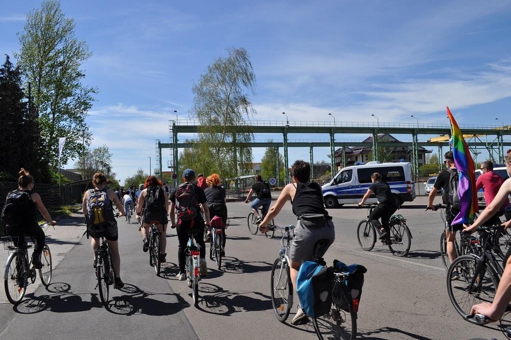 Die antifaschistische Fahrrad-Demo in Leipzig am 9. Mai. Foto: Antonia Weber
