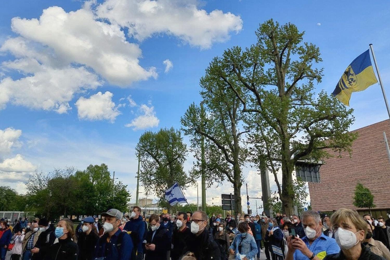 Kundgebung gegen Antisemitismus am 21. Mai 2021 vor dem Neuen Rathaus. Foto: LZ